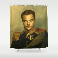 leonardo dicaprio Shower Curtains featuring Leonardo Dicaprio - replaceface by replaceface