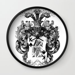 Poker King Spades black and white Wall Clock