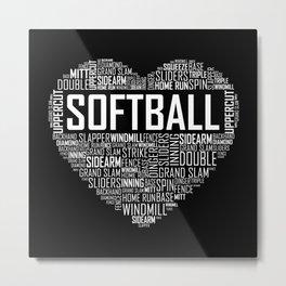 Softball Heart Love Metal Print