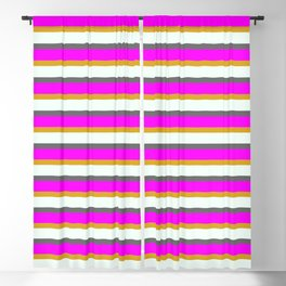 Goldenrod, Mint Cream, Dim Gray, and Magenta Colored Lines Pattern Blackout Curtain