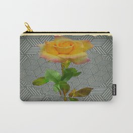 Grungy Blooming Yellow Rose Geometric Pattern Art Carry-All Pouch