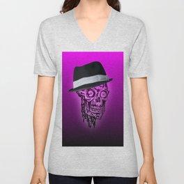 Elegant Skull with hat,hot pink Unisex V-Neck