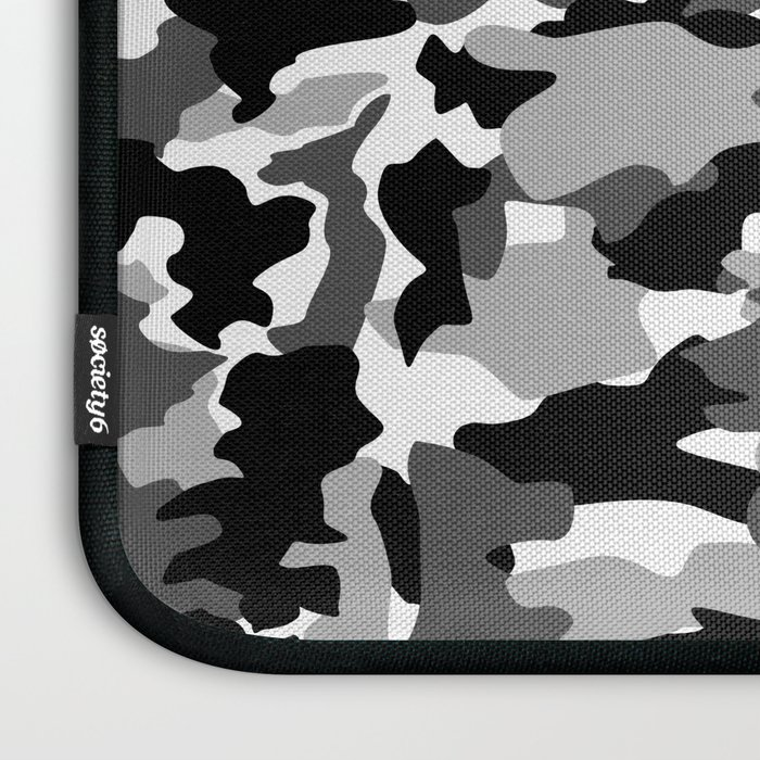 black and white Background Pattern Camo Laptop Sleeve