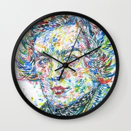 ROBERT SCHUMANN watercolor portrait Wall Clock