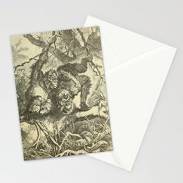 Vintage Print - Animals in Action (1901) - Orangutans Watching a Tiger Snake Stationery Cards