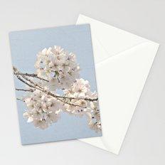 Spring Botanical -- Fluffy Cherry Tree Buds & Flowers On Carolina Blue Sky 1 Stationery Cards