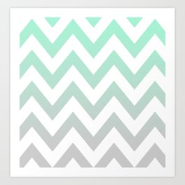 MINT GRAY CHEVRON FADE Art Print
