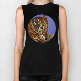 Emmitt the Whippet Dog Portrait Biker Tank