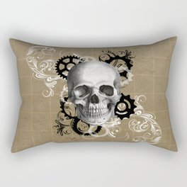 Skull With Gears and Floral Ornaments Rectangular Pillow