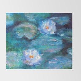 Blue Water Lilies Throw Blanket