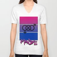 bisexual V-neck T-shirts featuring Bisexual Pride! by Creature Creation Cafe