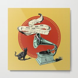 The Cat and the Cat Song (red) Metal Print