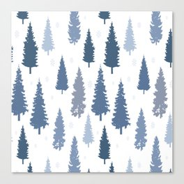 Pines and snowflakes pattern Canvas Print