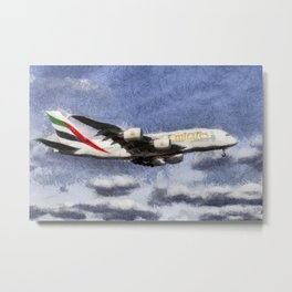 Emirates A380 Airbus Art Metal Print