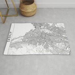 Athens White Map Rug