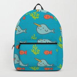 Narwhal Underwater Creatures Pattern   Ocean Theme Backpack