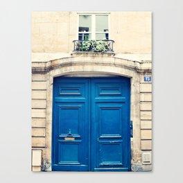 Paris door, blue Canvas Print
