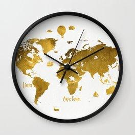 Golden World map Wall Clock