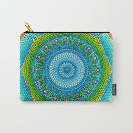 Green-yellow mandala painting on canvas Carry-All Pouch
