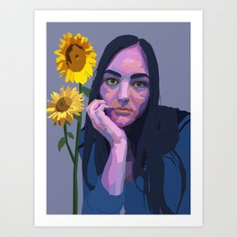 emma with sunflowers Art Print
