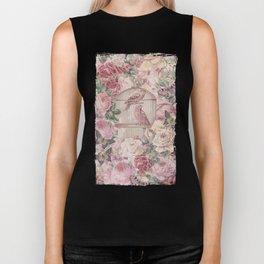 Romantic Flower Pattern And Birdcage Biker Tank