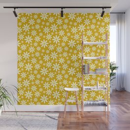 Retro Groovy Daisy Flower Power Vintage Pattern in Ivory, Golden Yellow Mustard Color, Oil Texture Wall Mural