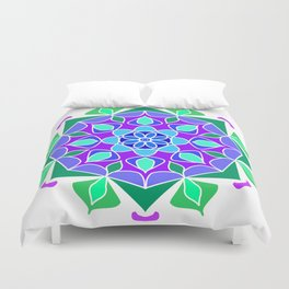 Mandala in blue and green colors Duvet Cover