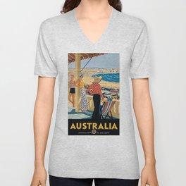 1929 Australia Bondi Beach Travel Poster Unisex V-Neck