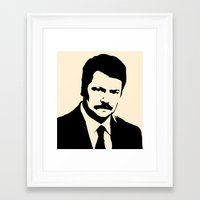 parks and recreation Framed Art Prints featuring Ron Swanson - Parks and Recreation by Joe Bidmead