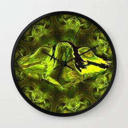 UFO Green Gold Wall Clock