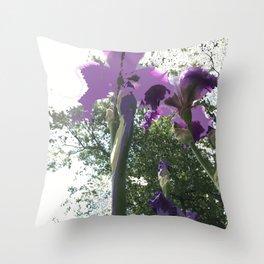 Giant Iris Stalks, purple green white, modified Throw Pillow