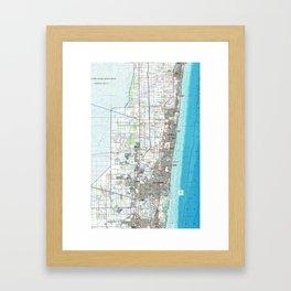 Fort Lauderdale Florida Map (1985) Framed Art Print