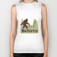 bigfoot Biker Tanks featuring Bigfoot Believe by Heather Green
