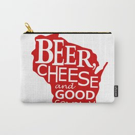Red and White Beer, Cheese and Good Company Wisconsin Graphic Carry-All Pouch