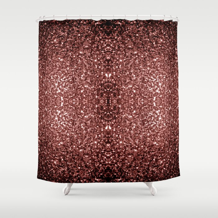 Beautiful Glam Marsala Brown-Red Glitter sparkles Shower Curtain