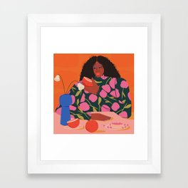 Still Life of a Woman with Dessert and Fruit Framed Art Print