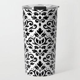 Scroll Damask Big Pattern Black on White Travel Mug