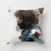 water colour Throw Pillows featuring Winter Soldier Water Colour by Scofield Designs
