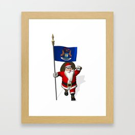 Santa Claus With Flag Of Michigan Framed Art Print