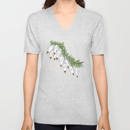 heather white flower Unisex V-Neck