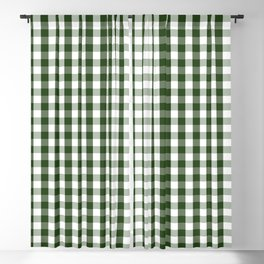 Dark Forest Green and White Gingham Check Blackout Curtain