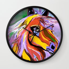 Horse Posing Pretty Oil Brown Wall Clock