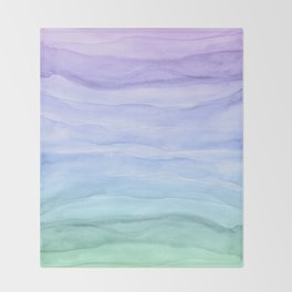 Layers Blue Ombre - Watercolor Abstract Throw Blanket