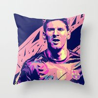 messi Throw Pillows featuring Lionel Messi : Football Illustrations by mergedvisible