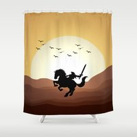 the legend of zelda Shower Curtains featuring Legend Of Zelda Link by Inara