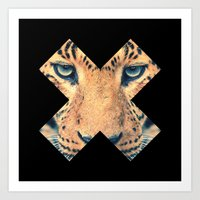leopard Art Prints featuring Leopard by Zavu