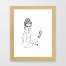 Hipster Girl, Modern Art, Minimalist, Ink, Boho Wall Art, Woman Strong Framed Art Print