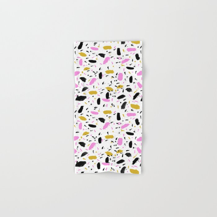 Terrazo cute pink black and white gender neutral modern abstract pattern painting painterly boho art Hand & Bath Towel