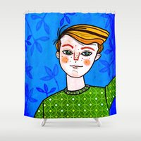 ginger Shower Curtains featuring Ginger boy by Jonny Bateau