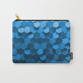Blue hexagon abstract pattern Carry-All Pouch